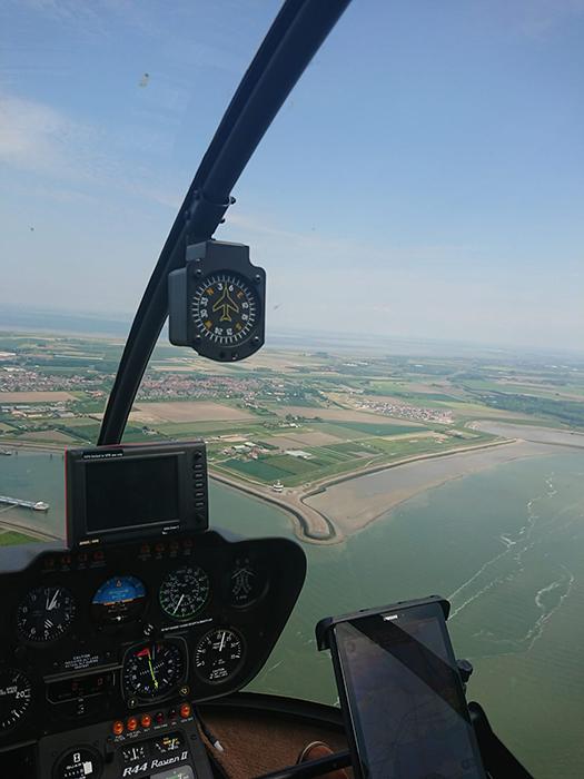 Beeld vanuit de cockpit