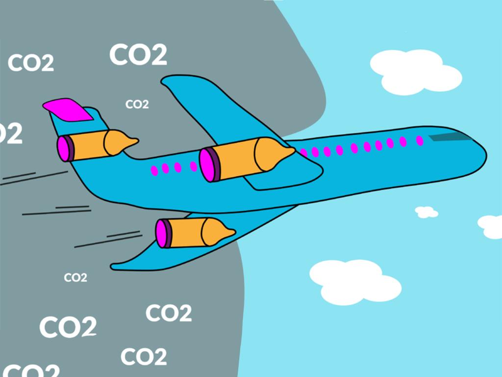 CO2 uitstoot vliegtuig